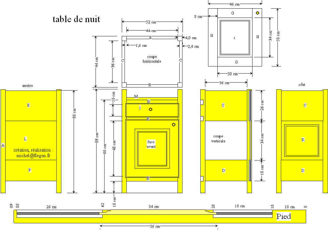 Tables de chevets michel fl gon for Plan table en bois